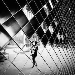 IMG_1180804 (Kathi Huidobro) Tags: streetphotography distorted candid blackwhite bw monochrome londonart london reflection facade metalwork pattern