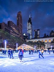 Bryant Park Ice Skating (20191103-DSC08420) (Michael.Lee.Pics.NYC) Tags: newyork bryantpark iceskating onevanderbilt construction architecture cityscape skyline skyscraper wintervillage night twilight dusk bluehour sony a7rm4 laowa12mmf28 magicshiftconverter
