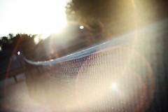 lens flare (Yuki (8-ballmabelleamie)) Tags: helios442 oldlens manuallens manualfocusing study test sunlight backlight park tennisnet lensflare sunset