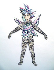 Jointed paper doll fairy (JuliaPeculiart) Tags: paperdoll paper doll jointed articulated handmade puppet fairy fae faerie whimsical