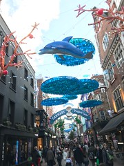 A bad shot of some excellent Carnaby Christmas decorations (Matt From London) Tags: carnabystreet christmasdecorations dolphin lights