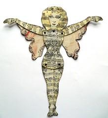 Fairy paper doll (JuliaPeculiart) Tags: juliapeculiar artdoll paperdoll paper doll jointed articulated fairy fae faerie puppet handmade