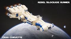 SW Microfighters: Rebel Blockade Runner (Ben Cossy) Tags: lego moc afol tfol rebels rebellion star wars blockade runner corvette blue white space