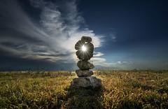 Chari's cairn at Mt. Sunflower (peakdan) Tags: landscape kansas cairn sunset clouds