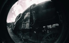 Last Train (Crusty Da Klown) Tags: kootenays sandon ghosttown bc britishcolumbia canada lomo lomography lofi fisheye camera lens film bw monochrome black white outside outdoors summer train locomotive ironhorse steamengine round ciricle old historical history big metal steal iron vintage
