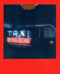TAXI (tobysx70) Tags: polaroid originals color film for 600 type cameras frames edition expired red slr680 taxi andy's bar north locust street denton texas tx dixiecity cab company neon sign illuminated lit night nocturnal telephone phone number exit duct divot polacon4 polacon2019 polacon 092919 toby hancock photography
