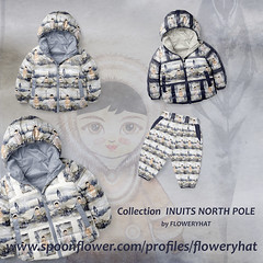 INUITS-NORTH-POLE-JACKETS-by-Floweryhat (FLOWERYHAT DESIGNS) Tags: floweryhat fabrics spoonflower fabric sewing stiching upholstery apparel northpole arctic artic inuit inuits characters snow mountains frames seamless ecru white indigo winter baby kids quilting patchwork pattern design designer designers decoration tissu stoff stash striped pastel watercolor polenord vetement anorak jacket pants pantalon couture