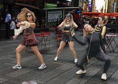 Dancing in the street (80_546546) (Itzick) Tags: manhattansep2019 nyc timessquare dancinginthestreet young women candid color streetphotography d800 itzick
