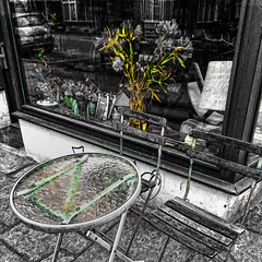 colors are gone (j.p.yef) Tags: peterfey jpyef yef photomanipulation seasons autumn winter window flowers streetcafe germany hamburg table chairs