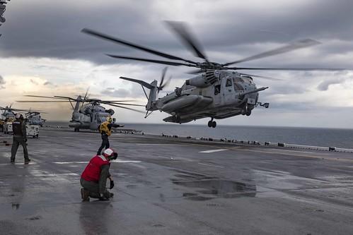 USS Bataan (LHD 5) conducts flight operations.