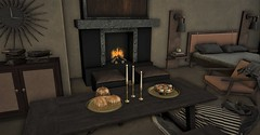 He wanted to live a simple life (Miru in SL) Tags: second life sl decor furniture home garden inner demons refuge liaison collaborative your dreams apple fall nutmeg scarlet creative rustic mesh fireplace candles pumpkins bed books living room