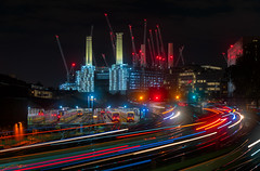 Neon City (Pete Rowbottom, Wigan, UK) Tags: london batterseapowerstation londonvictoria architechture movement light peterowbottom trains railway speed long exposure nikond850 towers cranes citylife citylights colourful transport londres cityscape uk england capitalcity ukcapital neon colour vivid train depot landmark