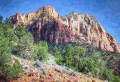 Mountains and Canyon Walls at Zion National Park in Utah, a digital painting (PhotosToArtByMike) Tags: zioncanyon zionnationalpark canyonwalls utah ut limestone erosion canyon scenic desert mountains goldensandstone rockspires landscape rockformations arid desertlandscape