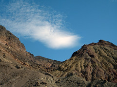 The Death Valley desert sky above dry landforms (albatz) Tags: sky blue clouds mountains deathvalley desert usa