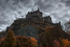 Edinburgh Castle on a dreich, autumnal day (MilesGrayPhotography (AnimalsBeforeHumans)) Tags: nd a7rii sonya7rii ilce7rm2 sonyilce7rm2 24105 sonyfe24105mmf4goss autumn auldreekie architecture britain castle castlerock edinburgh edinburghcastle glow historic historicscotland haze iconic kasefilters landscape landscapephotography outdoors old photography ruins scotland sky sony scottish scottishlandscapephotography sonyflickraward mist fog dreich trees uk unitedkingdom unesco volcano volcanic clouds