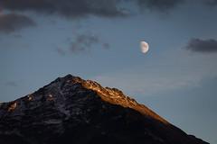 evening (gabriela vetsch) Tags: moon mond mountain berg sunset sonnenuntergang mood blue switzerland berneroberland innertkirchen canon6d canon100400usmi sky cloud clouds wolken