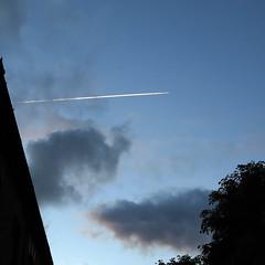 The night sky with a white streak across it in Dublin, Ireland (albatz) Tags: sky blue clouds night white streak dublin ireland