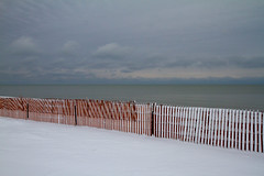Red Snow Fence (Lester Public Library) Tags: beach beaches tworiverswisconsin tworivers neshotahbeach neshotah neshotahpark snow wisconsin greatlakes lakemichigan lake water lesterpubliclibrarytworiverswisconsin readdiscoverconnectenrich