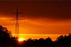 Sonnenaufgang (robert.pechmann) Tags: sonnenaufgang flughafen münchen landscape national sun strommasten leitung flugzeug flieger sonne