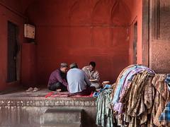 Table Cloth (Siobhán Bermingham) Tags: colours men workers cloth delhi orange india