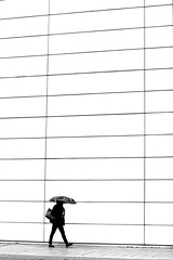 To the big wall (pascalcolin1) Tags: paris13 femme woman mur wall rayures stripes blanc white pluie rain parapluie umbrella photoderue streetview urbanarte noiretblanc blackandwhite photopascalcolin 5omm canon50mm canon