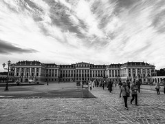 Schoenbrunn Palace (Dennis Reyes Photography) Tags: vienna travel castles tourism landscape austria europe cityscape gothic statues wideangle courtyard palace medieval fountains baroque schoenbrunn iphone mariatheresia schoenbrunnpalace iphoneography blackandwhite salzburg streetphotography danube queen empress monarchy emperor franzjoseph empresselizabeth schönbrunn schönbrunnpalace