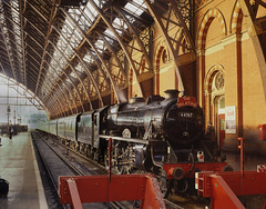 44767 arrival at St. Pancras  25.3.95. (Neville Wellings) Tags: 44767 blackfive georgestephenson stpancras