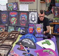 Rebellious-looking items for sale on a stall in Sitges. 10 October 2019 - P1090150M (rob.boler) Tags: spain espana catalonia sitges sitgesinternationalfilmfestival rebellious merchandise