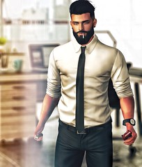 [ 📷 - 155 ] (insociable.sl) Tags: boy man male work beard office cigarette smoke tie sl suit secondlife marlboro lighter edit classy workingboy businessman business