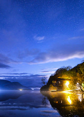 The Duke of Portland Boathouse (Alex Hannam) Tags: lakedistrict ullswater longexposure night nightsky stars clouds reflection cumbria trees boathouse dukeofportland