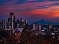 Seattle Skyline [Explored] (-MSW-) Tags: seattle spaceneedle mtrainier sunset sky colors moon skyline city