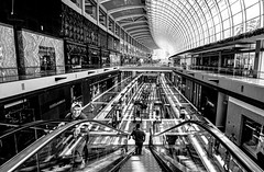 Inside The Shoppes (kiwi photo lover) Tags: singapore republic marinabay shopping luxury retail airconditioned complex mall bw monochrome contrast filtered light shadows indoors urban glass reflections shoppers
