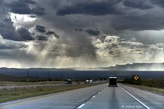 On The Road (Alfredo Rafael) Tags: clouds skies threatening roadtrips crosscountry i10 stormyweather roadways texashighways distantmountains southwest desert texaspanhandle rain trucks traveling wetroads
