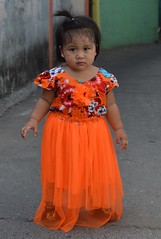 dressed for the occasion (the foreign photographer - ฝรั่งถ่) Tags: girl child bright orange dress khlong thanon portraits bangkhen bangkok thailand nikon d3200
