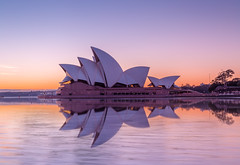 First Light over the Sails (Jared Beaney) Tags: canon6d canon travel photography photographer australia australian sydney newsouthwales operahouse reflections reflection sunrise circularquay city icon iconic pastel