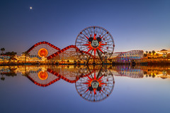 Pixar in Blue (Jared Beaney) Tags: canon6d canon travel photography photographer disney usa america theme amusement park parks resort resorts disneyland californiaadventure pixarpier sunset bluehour reflections reflection mickeysfunwheel incredicoaster