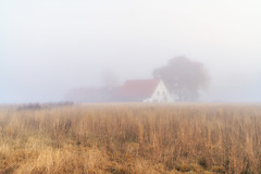Field and farm in the mist of morning (Bielefeld-Kirchdornberg, Germany) (Jens Flachmann) Tags: autumn mist misty fog foggy field farm bielefeld germany carlzeiss sony e nature landscape general batis240 batis240cf