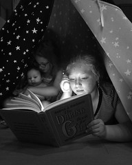 Story time is a magical time (tlgvbzkx25) Tags: sisters reading daughters books tent magical storytime threedaughters family memories daringbookforgirls flashlight booklover