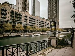 Gathering (ancientlives) Tags: chicago chicagoriver chicagoparks illinois il usa travel trips walking clouds weather rain towers city cityscape rivereast boats rivercruise sky skyline skyscrapers downtown architecture buildings wednesday november autumn 2019