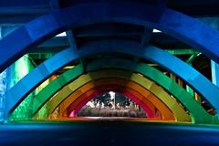 Rainbow bridge (tinmarmade) Tags: australie australia voyage travel adelaide city ville bridge pont couleurs colofull colors concrete beton architecture nuit night longue exposition long exposure fujifilm geometric geometrique
