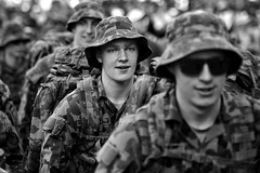army focus (gro57074@bigpond.net.au) Tags: armyfocus camouflage people faces funrun citytosurf city2surf guyclift army f28 70200mmf28 nikkor d850 nikon bw monochromatic monotone monochrome mono blackwhite candid williamstreet sydney august2019