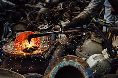 Acetylene Torch Cutting Metal, Chittagong Bangladesh (AdamCohn) Tags: adam cohn bangladesh chittagong acetylenetorch market marketplace salvage salvaged scrap scrappers scrapping shipbreaking sparks streetphotographer streetphotography wwwadamcohncom adamcohn