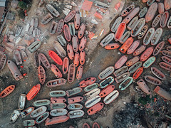 Escape Pods Salvaged From Shipbreaking, Chittagong Bangladesh (AdamCohn) Tags: adam cohn bangladesh chittagong dji djispark drone market marketplace salvage salvaged scrap scrappers scrapping shipbreaking streetphotographer streetphotography wwwadamcohncom adamcohn flickrtravelaward
