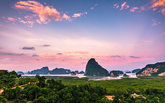 Phang Nga in Thailand (PhotoExpozure) Tags: thailand land smiles phang nga landscape photography islands island water trees sunset blue hour pink sky tropical paradise phuket asia