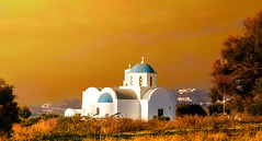 une église de campagne (angelobrathot) Tags: church orthodoxie white blue coupoles byzantines sunset