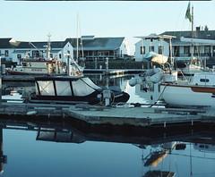 Early morning harbor (Kent C.) Tags: film 120film kodakfilm filmphotography mamiyarb67pros kodakportra160 pygmyboats