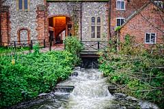 Sluice Gate (Croydon Clicker) Tags: river water flow sluice rapids building architecture mall banks foliage salisbury wiltshire nikon nikkor