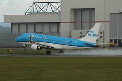 PH-EXO take off. (aitch tee) Tags: klm embraer takeoff wet weather e175 phexo cardiffairport cwlegff maesawyrcaerdydd walesuk