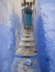 The forbidden stairs (JLM62380) Tags: afrique africa stair escalier chefchaouen morocco town ville bleu blue door porte painting peinture entrance entrée forbidden interdit