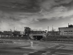 Empty street (wojciechpolewski) Tags: street road streetexplorer urban urbanexplorer poland wpolewski photos photo blackandwhite blanconegro blackwhite schwarzweis bridge train railway